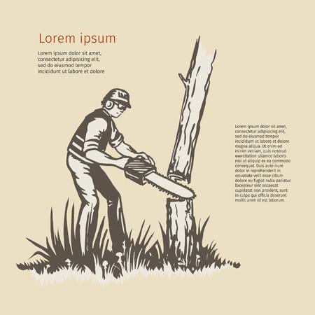 Illustrazione di un potatore albero chirurgo arboricoltore trimmer taglio con motosega fatto in stile retrò.