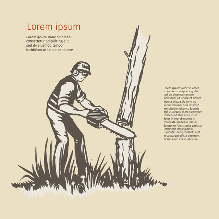 Illustration of a tree surgeon arborist trimmer pruner cutting with chainsaw done in retro style.