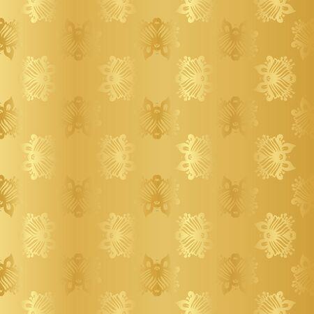argent: Seamless wallpaper background floral vintage gold vecto Illustration