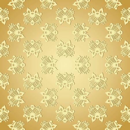 shiny argent: Seamless wallpaper background floral vintage gold vector, eps-8