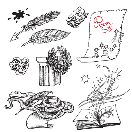 poetry: Set of black and white drawings on the theme of literature and poetry. Sketch vector illustrations for the book design.  Eps-8. Illustration