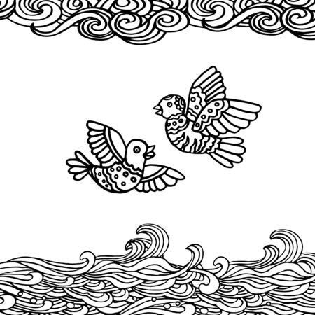 soulful: Black and white hand-drawn illustration of two flying birds and clouds decorativeand-drawn illustration of two flying birds and clouds decorative. Eps-8.