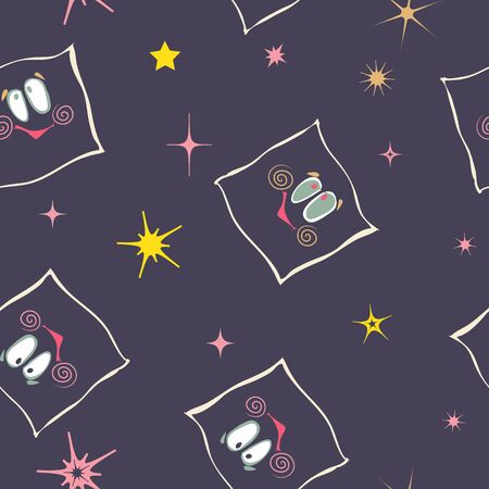 pillows: hand drawn seamless texture with stars and smiley pillows