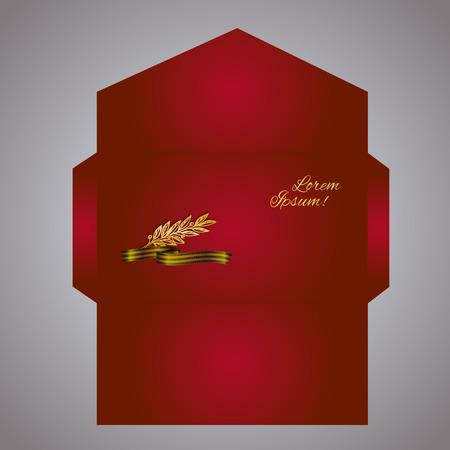 laurel branch: Envelope design with Black and gold Ribbon of St George and laurel branch. Eps-10