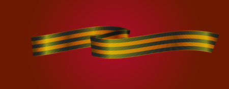 george: Black and gold Ribbon of St George on white background. Eps-10