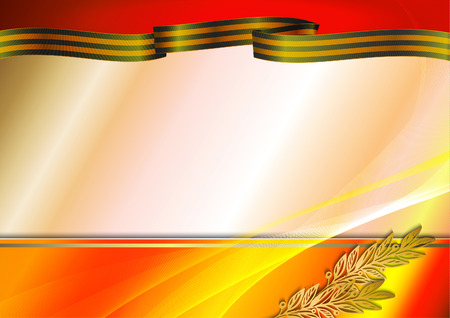 Holiday background in red with Georgievsky ribbon and laurel branch on Victory Day. May 9. Vector illustration, Eps 10