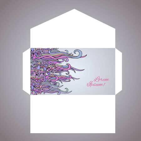 sentimental: Envelope design with hand drawn  abstract waves drawing., EPS-8 Illustration
