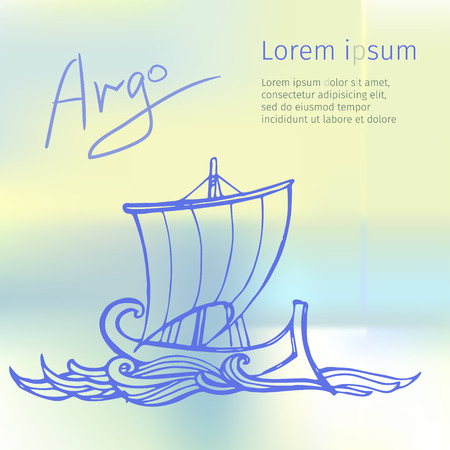 odyssey: Ancient Greek trireme. Eps-10 vector graphics.
