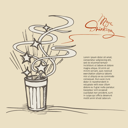 dipsomania: Magic Drinking. Vector sketch of the glass with a magic drink or alcohol.