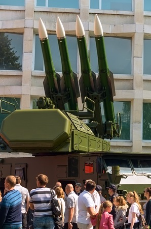 ULYANOVSK, RUSSIA - MAY 9, 2016: ULYANOVSK, RUSSIA - MAY 9, 2016: Demonstration of military equipment. May, 9, 2016 in Ulyanovsk city, Russia. Editorial