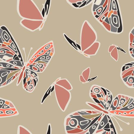 蝶のパターンをベクトルします。抽象的なシームレスな背景。Eps-8。  イラスト・ベクター素材