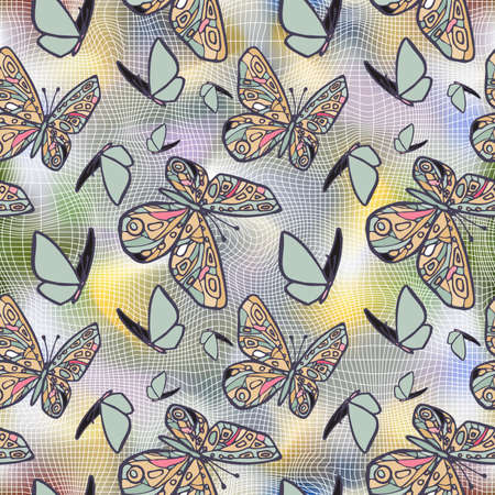 sector: Sector seamless texture with butterflies, distorting net space. Stock Photo