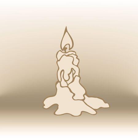 xmas linework: simple linear illustration of candle. Eps-10 Illustration