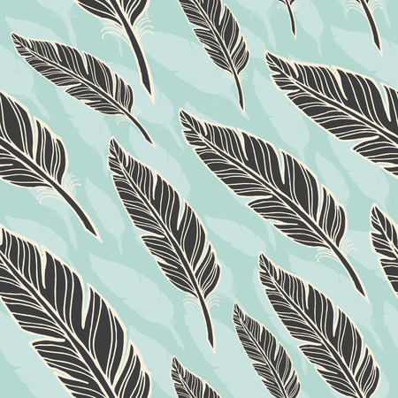 black feather: seamless pattern with black feather