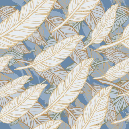 white feather: seamless pattern with white feather on blue background.