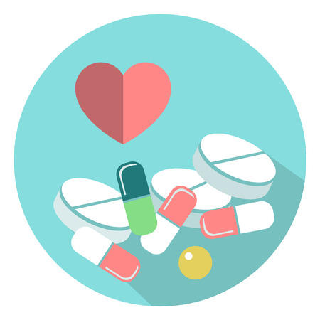 pharmaceutics: Medicine pills vector illustration. Pills and tablets in a flat style. Different medications.