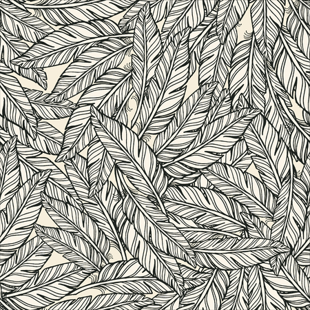 Abstract Seamless feathers pattern. white feathers with black outline feather on white background.
