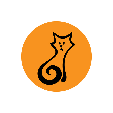 SIMPLIFIED FIGURE CAT. Linear graph. It can be used for zoo theme an element of the site design or as advertisement for Animal rescue Illustration