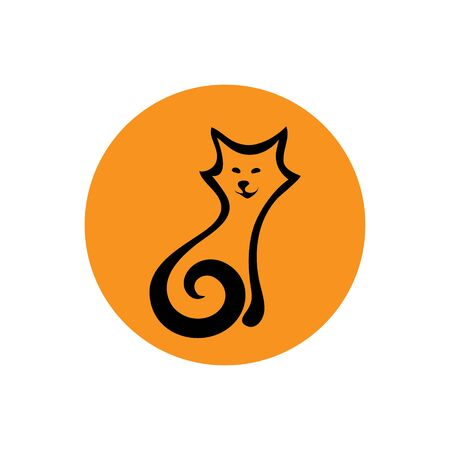 zoo as: SIMPLIFIED FIGURE CAT. Linear graph. It can be used for zoo theme an element of the site design or as advertisement for Animal rescue Illustration
