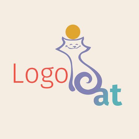 Vector with simplified figure cat. Linear graph. It can be used for zoo theme an element of the site design or as advertisement for Animal rescue