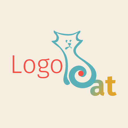 Vector with simplified figure cat.. Linear graph. It can be used for zoo theme an element of the site design or as advertisement for Animal rescue