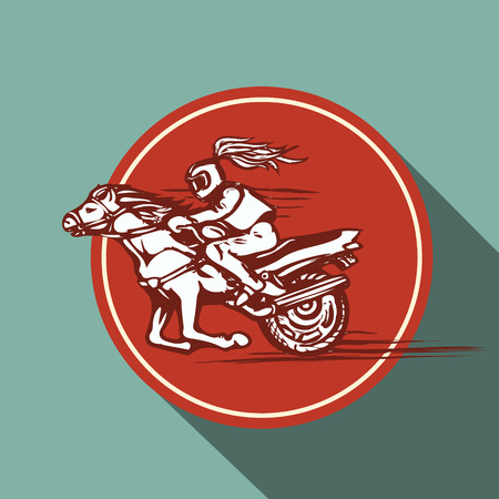 motorsports: Vector emblem with a rider on a horse, motorbike and circular inscription. Illustration