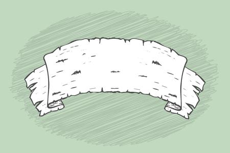 birch bark: Hand drawn black and white banner made of birch bark. Illustration