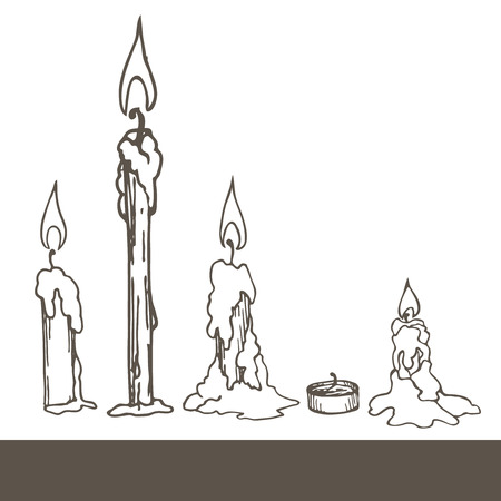 xmas linework: simple linear illustration of candles.