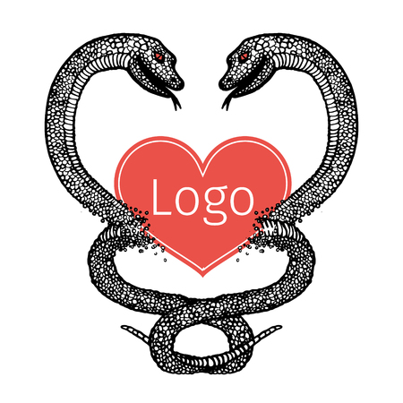 boa constrictor: hand drawn sign in the form of two intertwined black and white snakes and red hearts. Illustration