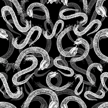 boa constrictor: Seamless hand drawn pattern with snakes.