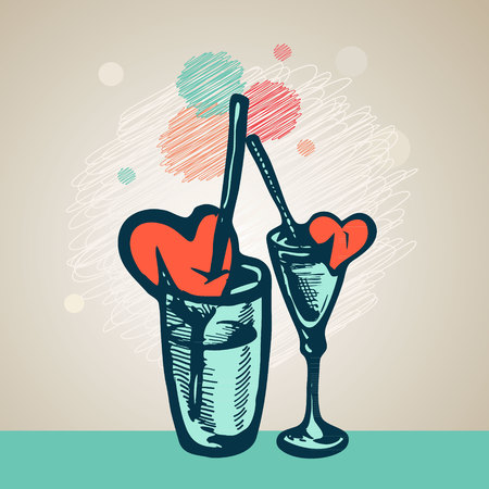 cocktail straw: hand drawing glasses with cocktail straw and a broken heart. Illustration
