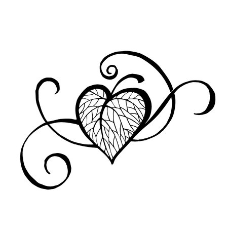Hand-drawn sketch of a heart or leaf. Element for design or tattoo.