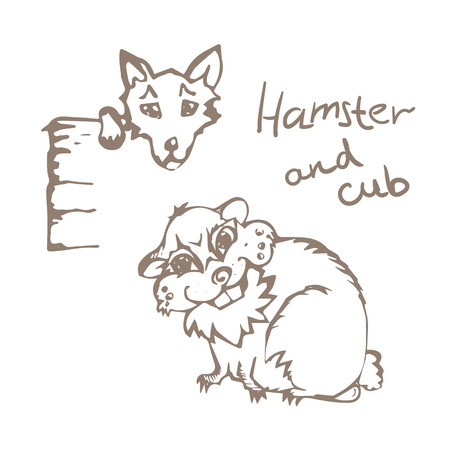 Linear hand drawn Hamster And Cub on white background. Eps-8. Illustration