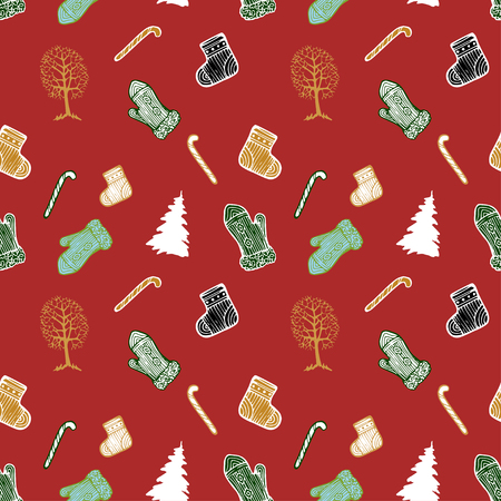 Vector Christmas seamless pattern with mittens, socks, Christmas trees, trees and candy