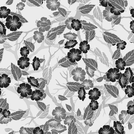 folliage: seamless background with sakura blossoms and folliage. Monochrome outlined illustration. -8