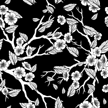 folliage: seamless background with sakura blossoms and folliage. Black white outlined illustration. -8