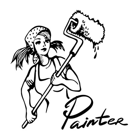 boilersuit: Young girl doing repairs in apartments. Sketches concept of repairs. Wallpapering, painting walls, plastering, painting floors vector illustration. Repair work on house.