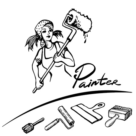 wallpapering: Young girl doing repairs in apartments. Sketches concept of repairs. Wallpapering, painting walls, plastering, painting floors vector illustration. Repair work on house.