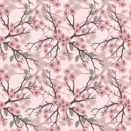 folliage: Vector seamless background with sakura blossoms and folliage. Black white outlined illustration. -8 Illustration