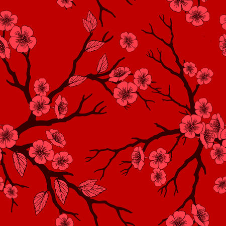 Vector seamless background with sakura blossoms and folliage. outlined illustration in shades of red. Eps-8