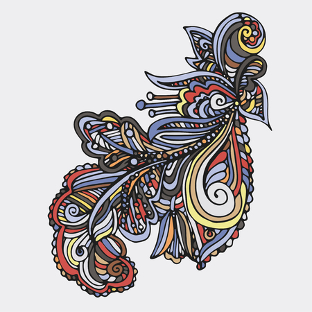 Hand drawn vintage ornament can be used as a greeting card. Colored swirly background with ethnic floral elements