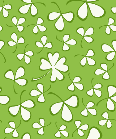 Vector seamless background pattern with hand drawn ink shamrocks on green Illustration
