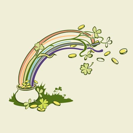 Arco Iris, Hoja Verde, Trébol De La Suerte Y Una Olla Llena De Oro ...