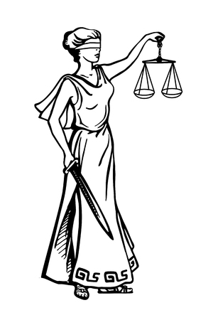 Illustration of Lady Justice holding scales and sword and wearing a blindfold in a vintage woodblock style. Eps-8 Illustration