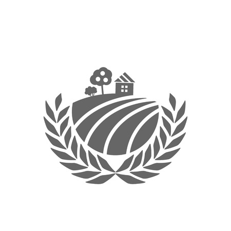 arable: Vector sign with rural house, apple tree, bush and arable land in a circle of spikelets. Agricultural industry symbol. Round colourful buttons with flat icons. Eps-8 Illustration
