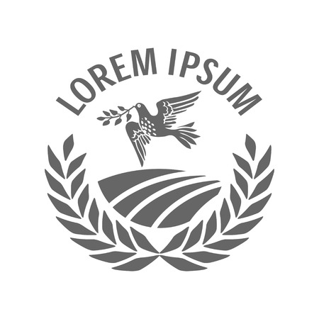 arable: Vector sign with rural arable land in a circle of spikelets and a dove bird carrying olive branch in beak as a peace symbol. Vector logo or icon