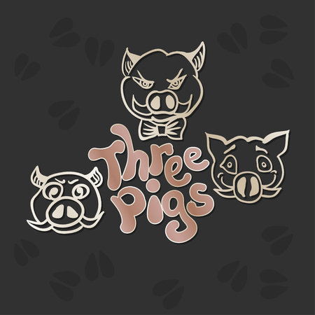 Vector drawing of the grown up three pigs with different characters. Hand drawn sketch with the inscription Three pigs.