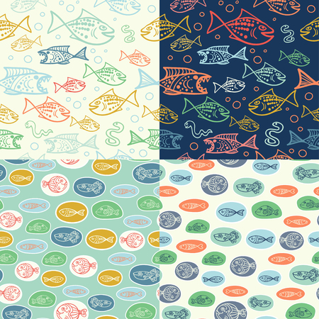 blue fish: Vector seamless pattern with hand drawn funny fishes in sketch style. Decorative endless marine background. Fabric design. Illustration