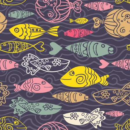 hand line fishing: Vector seamless pattern with hand drawn funny fishes and waves in sketch style. Decorative endless underwater marine dark background. Fabric design. Eps-8