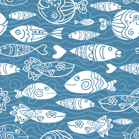 fish tail: Dark vector seamless pattern with hand drawn funny fishes and waves in sketch style. Decorative endless underwater marine background. Fabric design. Eps-8 Illustration